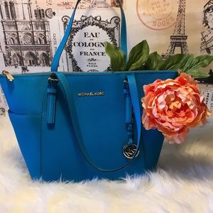 Michael Kors Jet Set Saffiano Leather Tote Blue